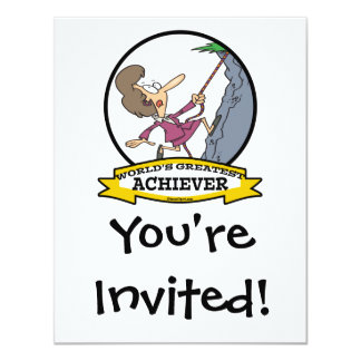 WORLDS GREATEST ACHIEVER WOMEN CARTOON 11 CM X 14 CM INVITATION CARD