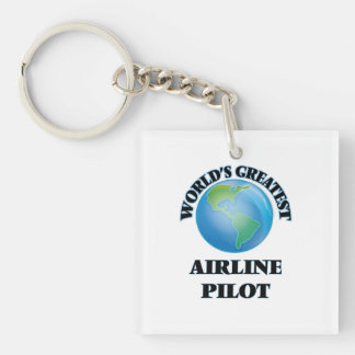 World's Greatest Airline Pilot Square Acrylic Keychain