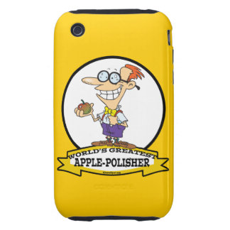 WORLDS GREATEST APPLE POLISHER CARTOON iPhone 3 TOUGH COVERS