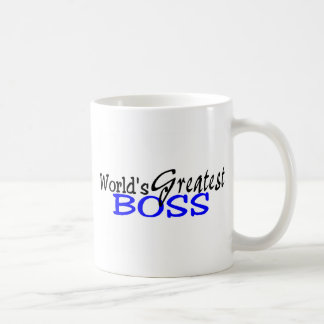 Worlds Greatest Boss Black Blue Basic White Mug