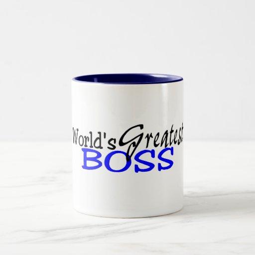 Worlds Greatest Boss Black Blue Coffee Mugs