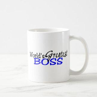 Worlds Greatest Boss Black Blue Basic White Mug