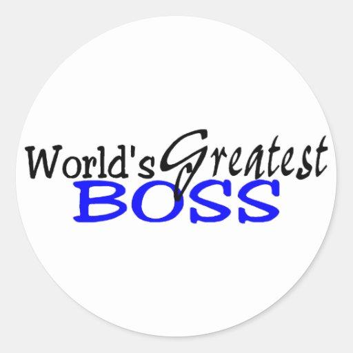 Worlds Greatest Boss Black Blue Round Stickers