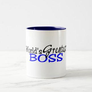 Worlds Greatest Boss Black Blue Two-Tone Coffee Mug