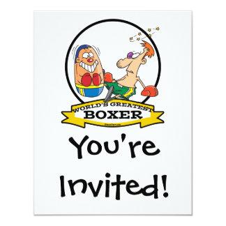 "WORLDS GREATEST BOXER MEN CARTOON 4.25"" X 5.5"" INVITATION CARD"