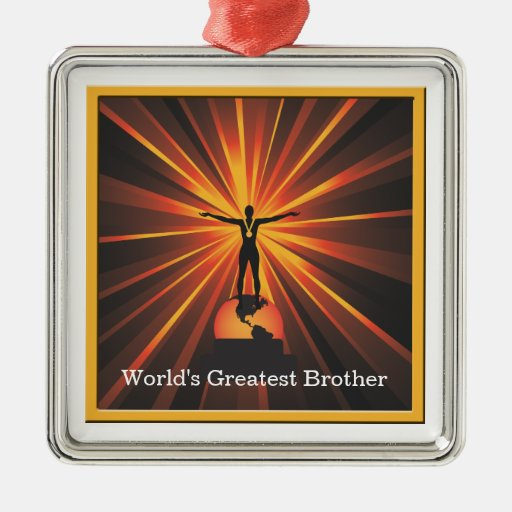 Worlds Greatest Brother Trophy Award Medallion Christmas Tree Ornaments