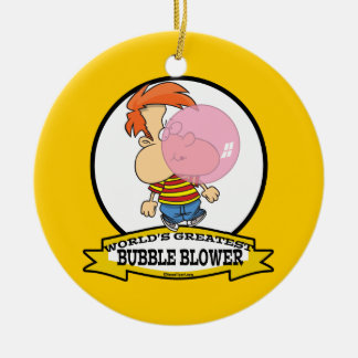 WORLDS GREATEST BUBBLE BLOWER KIDS CARTOON CERAMIC ORNAMENT