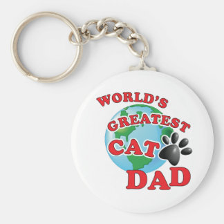 World's Greatest Cat Dad Paw Print Key Ring