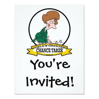 WORLDS GREATEST CHANCE TAKER WOMEN CARTOON 11 CM X 14 CM INVITATION CARD