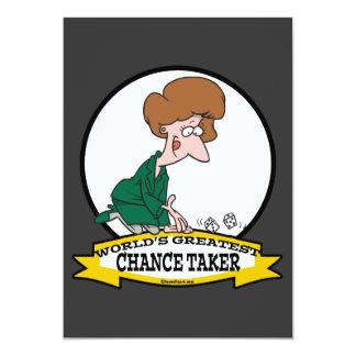 WORLDS GREATEST CHANCE TAKER WOMEN CARTOON 13 CM X 18 CM INVITATION CARD