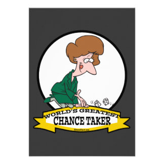 WORLDS GREATEST CHANCE TAKER WOMEN CARTOON PERSONALIZED INVITE