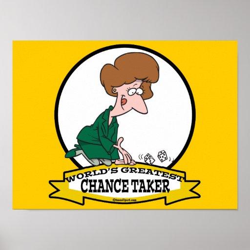 WORLDS GREATEST CHANCE TAKER WOMEN CARTOON POSTER