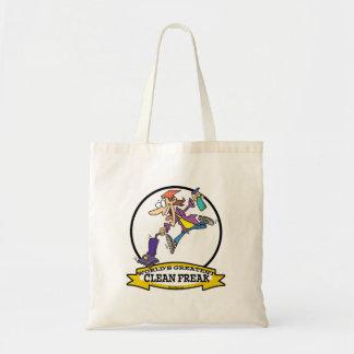 WORLDS GREATEST CLEAN FREAK WOMEN CARTOON TOTE BAG