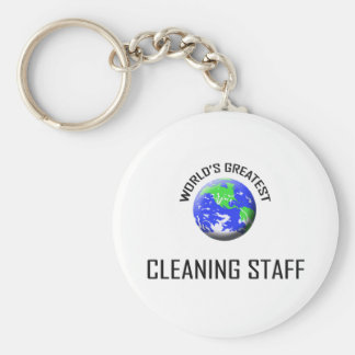 World's Greatest Cleaning Staff Basic Round Button Key Ring