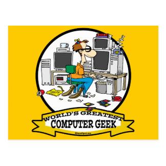 WORLDS GREATEST COMPUTER GEEK MEN CARTOON POSTCARD