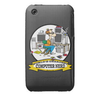 WORLDS GREATEST COMPUTER NERD MEN CARTOON iPhone 3 Case-Mate CASE