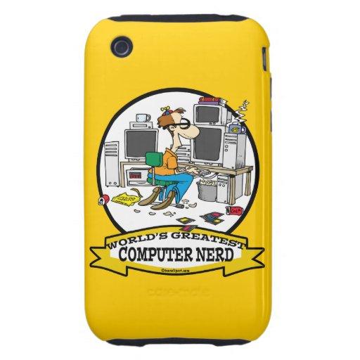 WORLDS GREATEST COMPUTER NERD MEN CARTOON iPhone 3 TOUGH COVERS