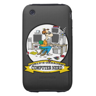 WORLDS GREATEST COMPUTER NERD MEN CARTOON iPhone 3 TOUGH CASES