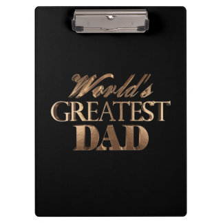 World's Greatest Dad Elegant Black Gold Typography Clipboard