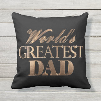 World's Greatest Dad Elegant Black Gold Typography Outdoor Cushion