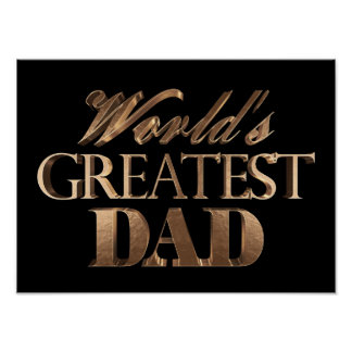 World's Greatest Dad Elegant Black Gold Typography Poster