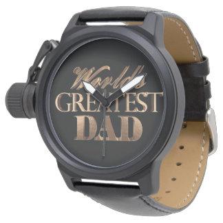 World's Greatest Dad Elegant Black Gold Typography Watch