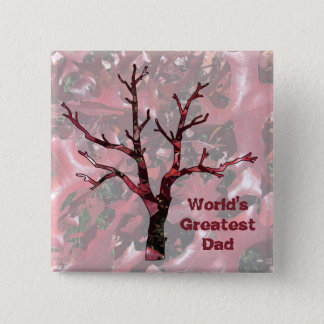 World's Greatest Dad Red Oak Leaves, Tree 15 Cm Square Badge
