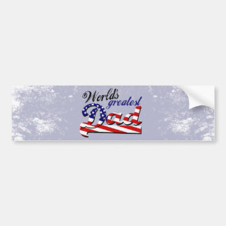 World's greatest dad with American flag Bumper Stickers