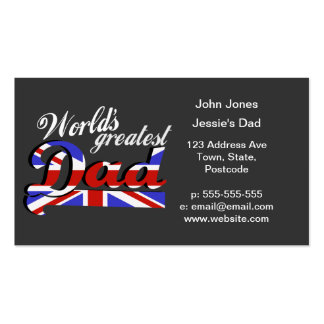 World's greatest dad with British flag - dark Pack Of Standard Business Cards