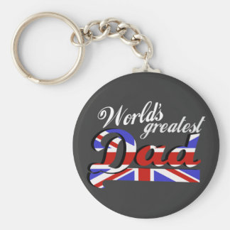 World's greatest dad with British flag - dark Keychain