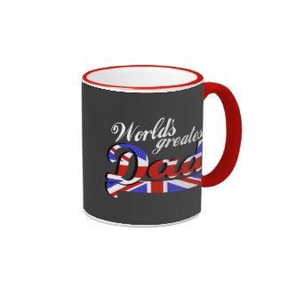 World's greatest dad with British flag - dark Mugs