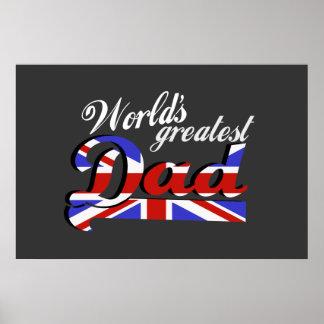 World's greatest dad with British flag - dark Poster