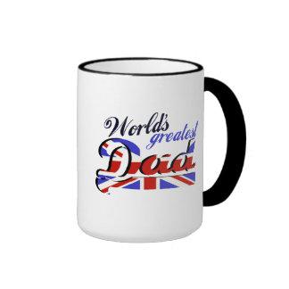 World's Greatest Dad with English flag Ringer Mug