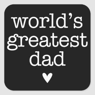 World's Greatest Dad with Heart Father's Day Square Sticker