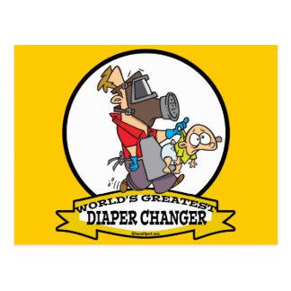 WORLDS GREATEST DIAPER CHANGER DAD CARTOON POSTCARD