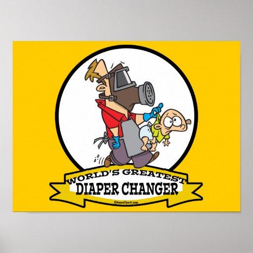 WORLDS GREATEST DIAPER CHANGER DAD CARTOON POSTER