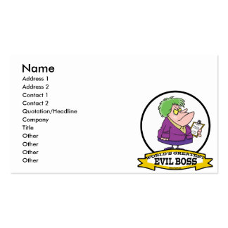 WORLDS GREATEST EVIL BOSS LADY CARTOON PACK OF STANDARD BUSINESS CARDS