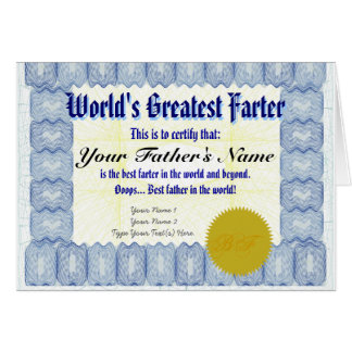 World's Greatest Farter Certificate Father Prank Card
