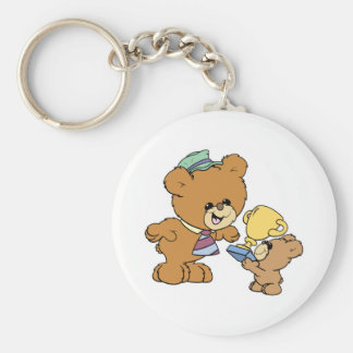 worlds greatest father cute teddy bears design basic round button key ring