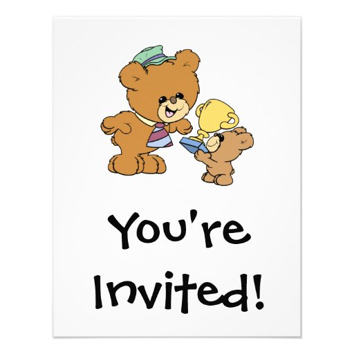 worlds greatest father cute teddy bears design personalized invite