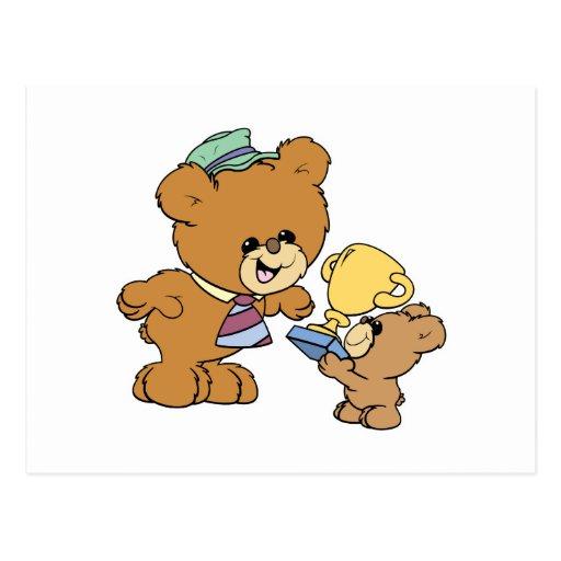 worlds greatest father cute teddy bears design post card