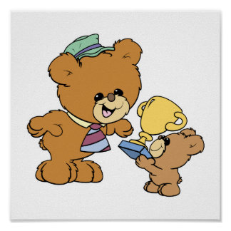 worlds greatest father cute teddy bears design poster