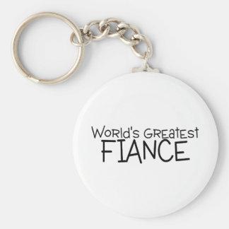 Worlds Greatest Fiance Basic Round Button Key Ring