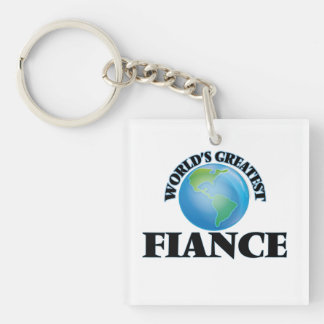 World's Greatest Fiance Square Acrylic Key Chains