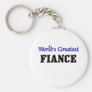 World's Greatest Fiance Basic Round Button Key Ring