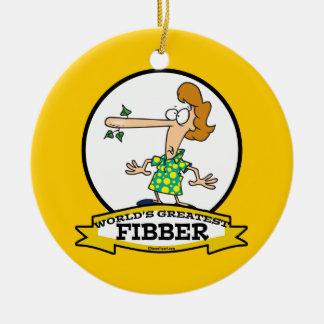 WORLDS GREATEST FIBBER WOMEN CARTOON ROUND CERAMIC DECORATION