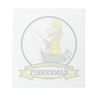 WORLDS GREATEST FISHERMAN MEN CARTOON NOTEPAD