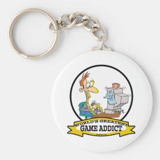 WORLDS GREATEST GAME ADDICT CARTOON BASIC ROUND BUTTON KEY RING