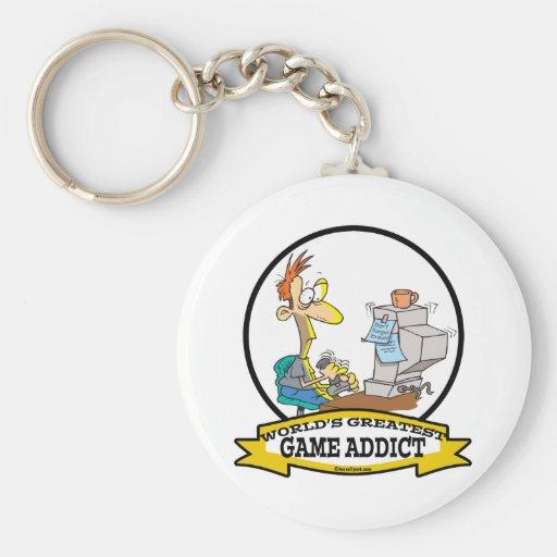 WORLDS GREATEST GAME ADDICT CARTOON KEYCHAIN