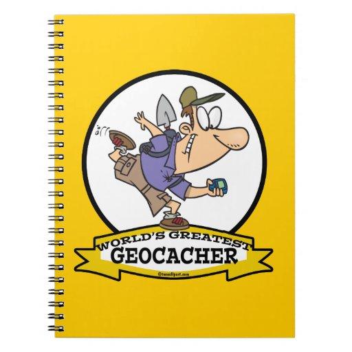 WORLDS GREATEST GEOCACHER MEN CARTOON SPIRAL NOTE BOOKS